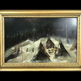 American painting Jutsum Norman Indian encampment 1912
