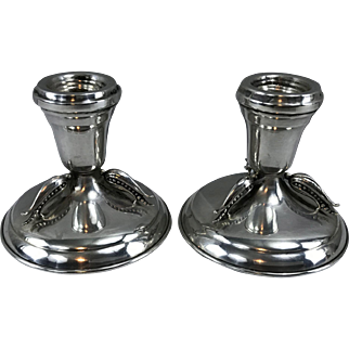 Carl Poul Petersen Montreal sterling silver pair of pea-pod design candlesticks