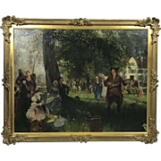 German painting Friedrich Peter Hiddemann festivity in the village