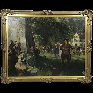 German painting Friedrich Peter Hiddemann festivity in the village
