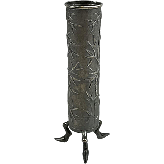 Chinese Export sterling silver spill vase by Wing Hing bamboo design