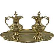 950 Sterling Silver and Vermeil Water and Wine Cruets by A Daubree France