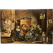 Dutch 17th Century Painting Wood Panel David Teniers Interior Scene