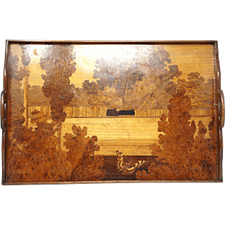 French Emile Galle Art Nouveau Marquetry Gallery serving Tray