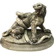 Marble Sculpture  fighting tiger and snake  signed N Torrini   ca. 1900