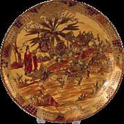 Antique Japanese Satsuma Dai Nippon Meiji Period Samurai Warriors Plate