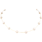 "14 kt Yellow Gold & 7.5 mm Cultured Pearl 17 1/2"" Choker"