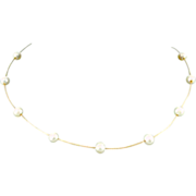 "14 karat Yellow Gold & 6.5 mm Cultured Pearls 16"" Choker"