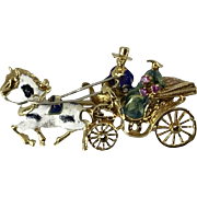 18 karat Solid Yellow Gold Brooch with Enamel Horse & Carriage Design