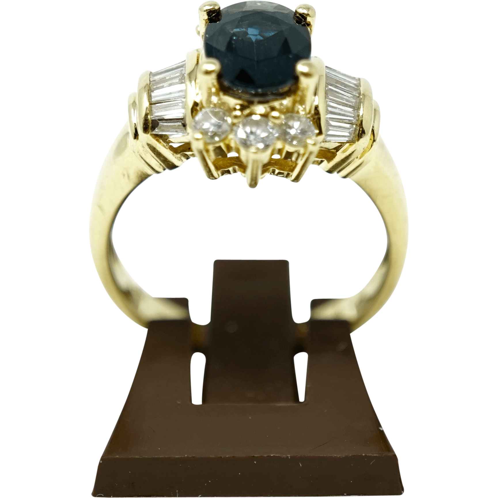 18 karat Solid Yellow Gold Ladies Ring with Genuine Sapphire & Fancy Cut Diamond Gemstones