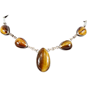 Stunning 1950 Sterling Silver Israel Choker with Tiger's Eye Gemstone