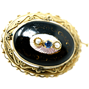 14 karat Solid Yellow Gold Enamel with Pearl & Sapphire Brooch