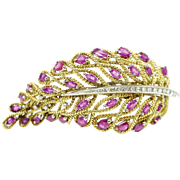Solid 18 karat Yellow Diamonds & Ruby Brooch w/ Certificate