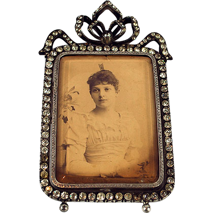 Vintage Victorian Sterling Silver & Rhinestone Frame