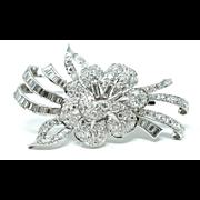 Estate Hand Made Flower Design Platinum & Genuine Diamond Brooch
