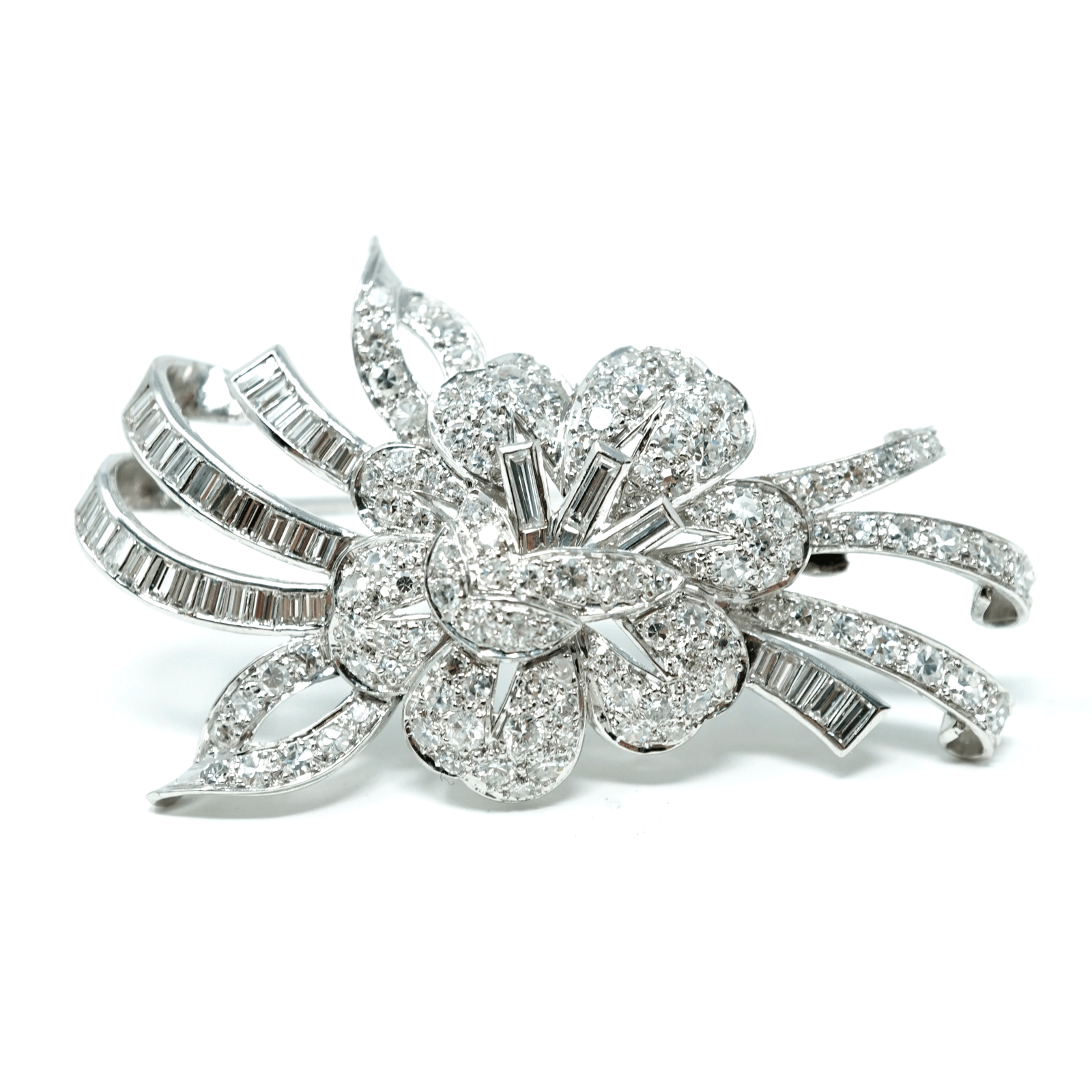 Estate Hand Made Flower Design Platinum & Genuine Diamond Brooch