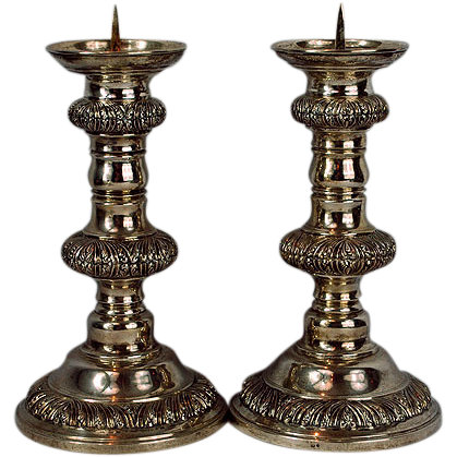 Judaica Sterling Silver Sabbath Pair of Candlesticks