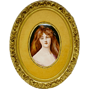 Hutschenreuther Porcelain Framed Lady Portrait Plaque
