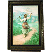 Italian Carlo Ferranti 1840-1908 Girl with Flower Basket European Painting