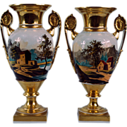 19th Century Paris Porcelain Pair of Urns