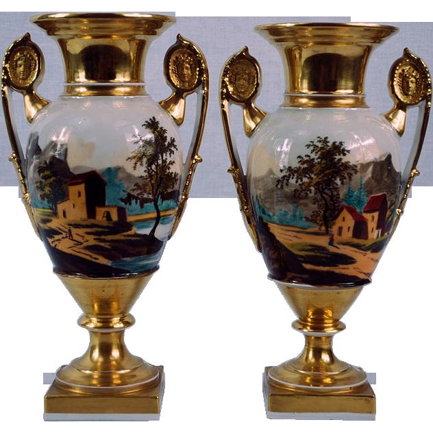 19th Century Paris Porcelain Pair of Urns