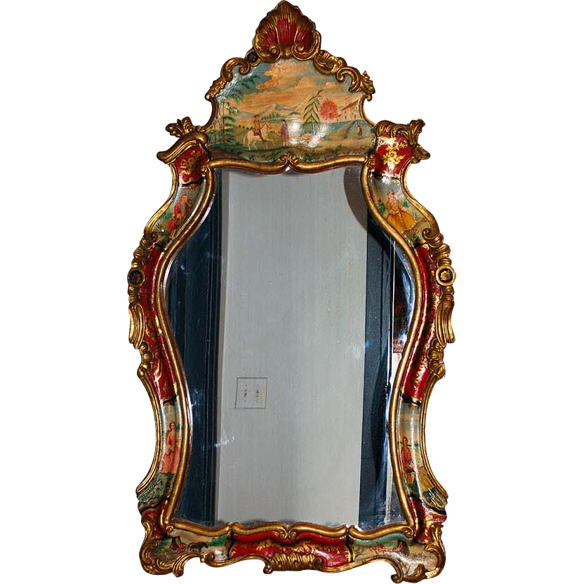 Italian rococo style carved wood hand painted mirror for Mirrors to purchase