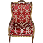 Antique Louis XVI Wing Back Giltwood  Early 19th Century Bergere Armchair