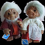 VINTAGE 1977 Grandma and Grandpa Norfin Dolls by DAM of Denmark