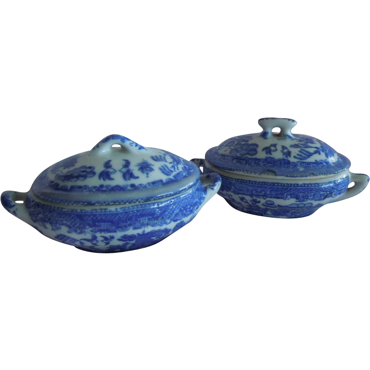 VINTAGE Doll/Child size Miniature Blue Willow Casserole Dishes Replacement Pieces