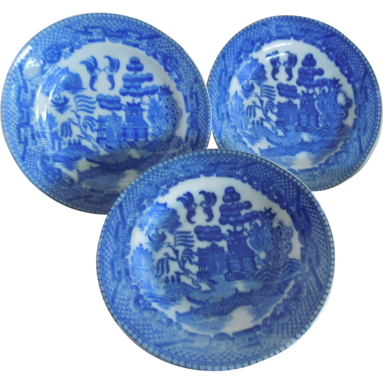 "PRETTY Vintage Blue Willow 4"" Dessert Plate Replacement pieces for Child's Play Set"