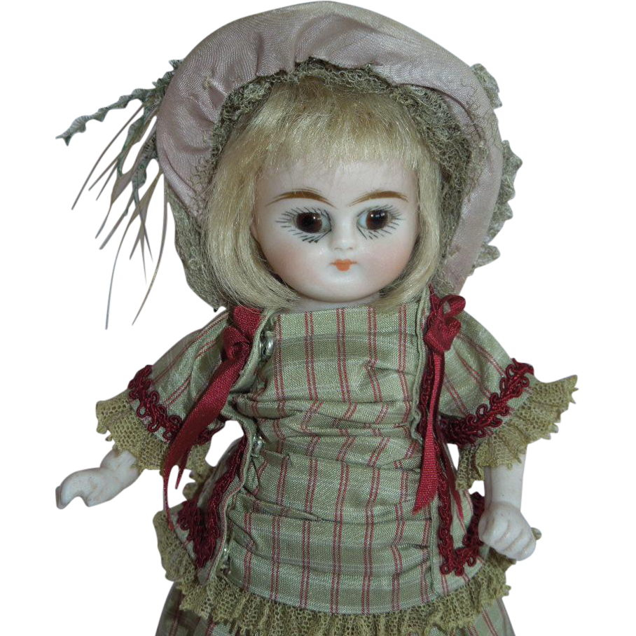 "WONDERFUL  6"" Kestner All Bisque Doll with  Early Round Face and Yellow Boots"