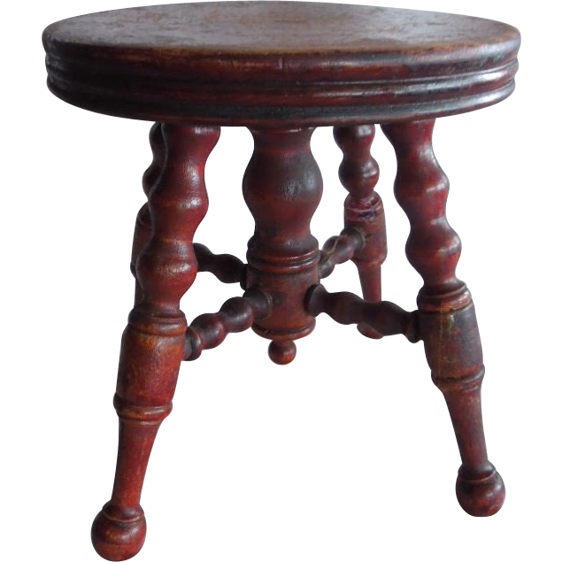 wonderful old doll size salesman sample piano stool from