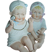 PLAYFUL Pair of Heubach German Bisque Piano Babies