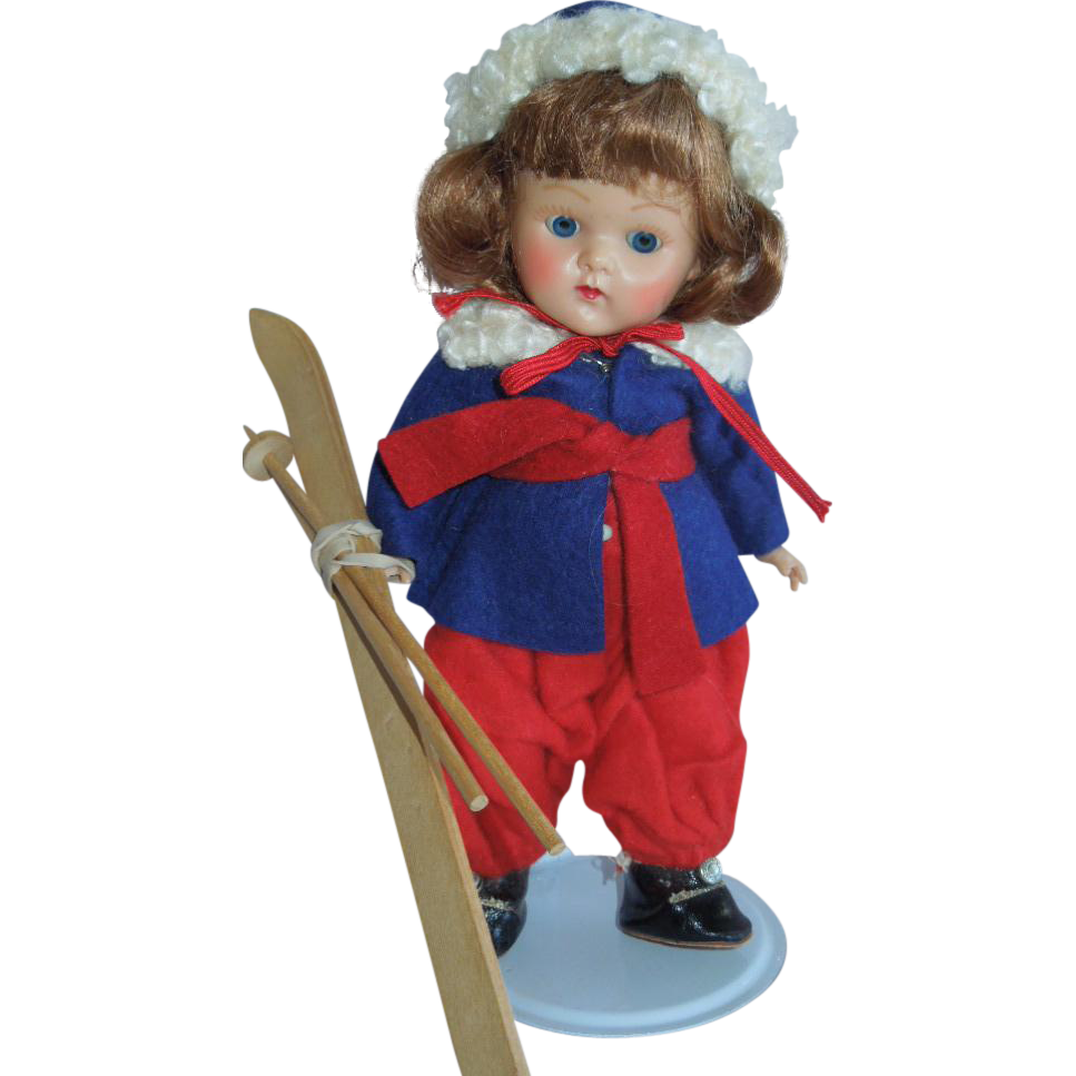 ADORABLE  1952 Strung Vogue Ginny Skier Pretty Auburn Wig