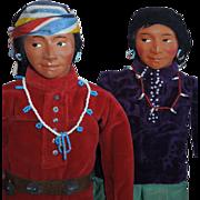 "GREAT Pair of 14"" Vintage Navajo Indian Dolls c.1940's-50's"
