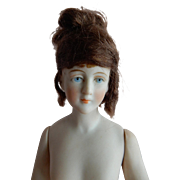 LOVELY Kestner Wigged Bisque Half Doll c. 1880's-90's