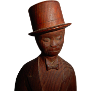 OUTSTANDING American Folk Art Carved Wooden Gentleman