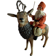 RARE and Wonderful German Paper Mache Saint Nicholas on Reindeer Candy Container