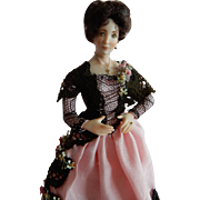 "LOVELY 1/12"" Scale Artist Original Victorian Style Lady of the House Dollhouse Doll"