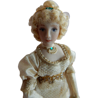 """ROMANTIC 1/12"""" Scale  Artist Made Dollhouse Doll in the Regency Style"""