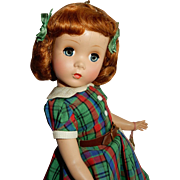 "CHARMING 14"" Madame Alexander Maggie Doll in Plaid c. 1949"