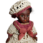 "ADORABLE 4.5"" German All Bisque Black Toddler Doll"
