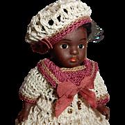 "ADORABLE 4.5"" German All Bisque Black Toddler Doll"