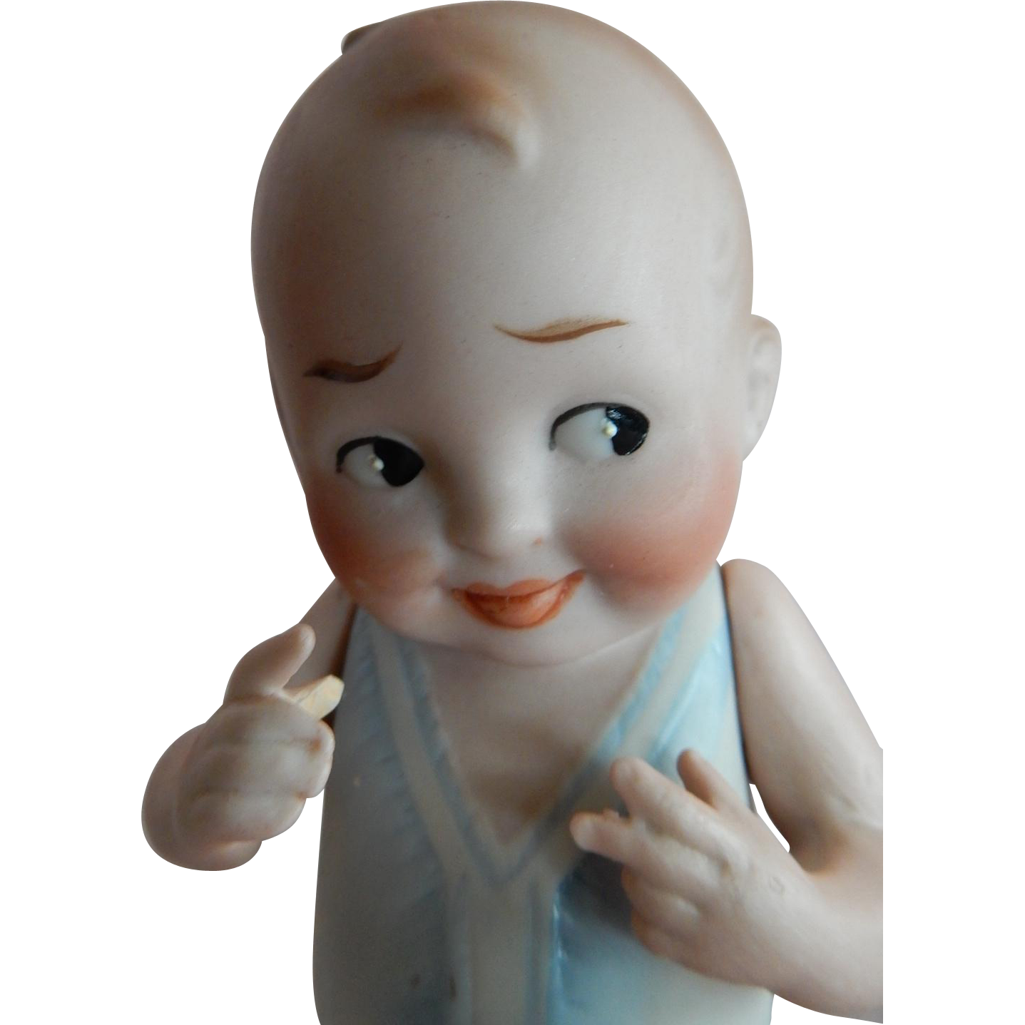 """CUTE 5.5"""" German All Bisque Baby Bud c. 1915"""