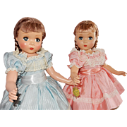 """RARE Pair of Beautiful 18"""" Madame Alexander c.1949 Polly Pigtails Dolls"""