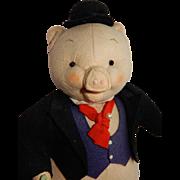 ADORABLE Wool Felt Gentleman Pig c. 1940's/50's