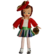 """PLAYFUL Mint in Box Tiny Town Doll """"Buttons and Bows"""" c. 1940's"""