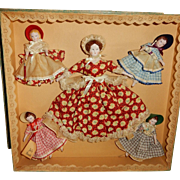 "MAGNIFICENT and Rare Boxed Ruth Gibbs 1940's March Family Dolls of ""Little Women"""