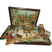 "Wonderful and Old 14"" x 10"" Boxed Set of 24 Wooden Cube Blocks with Lithographed Scenes...Original Box! - Red Tag Sale Item"