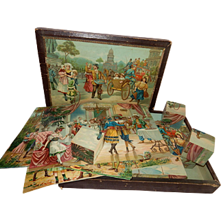 """Wonderful and Old 14"""" x 10"""" Boxed Set of 24 Wooden Cube Blocks with Lithographed Scenes...Original Box!"""